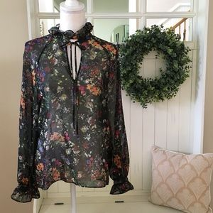 H&M Black Floral High Collared Top